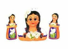 Mexican Indian Lady 3-Dimensional Table  Salt  Pepper Shakers, and a Napkin Holder set