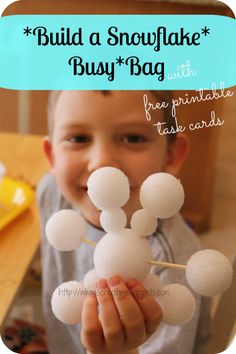 School Time Snippets: Build a Snowflake Busy Bag {Fine Motor Friday} ~ Dollar Store foam balls and toothpicks Winter Activities For Kids, Christmas Activities, Preschool Winter, Winter Fun, Winter Theme, Winter Ideas, Tot Trays, Snow Theme, Busy Boxes