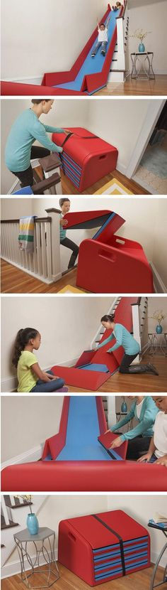 Awesome Products: A stair slide that converts your staircase into a slippery dip - Design Intuition - Ideen rund ums Haus - Need this in my house! A stair slide that converts your staircase into a slippery dip! Stair Slide, Stairs With Slide, Baby Kind, Future Baby, Future House, My Dream Home, Cool Kids, Kids Fun, Little Ones