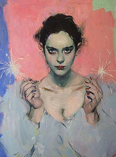 """Sparklers"" - Malcolm T. Liepke (b. 1953), oil on canvas {figurative art beautiful female head décolletage woman face portrait painting #loveart}"