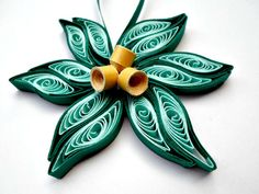 Teal gold flower Christmas tree ornament Paper flower ornament Modern and trendy Christmas tree