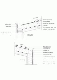 Gallery of Etoile Noire / Angélique Chedemois Architect - 23 Detail Architecture, Architecture Drawings, Timber Roof, Construction Drawings, Wood Construction, Roof Detail, Detailed Drawings, Roof Design, Technical Drawing