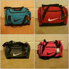 """Nike duffle bag 33 dollars Is for ONE bag. . Comes in teal, red, pink or grey. Let me know in comments which one you would like. Bag is considered """"small"""" duffle. Dimensions are 20.5"""" x 11"""" x 12"""".  Had adjustable strap and zippered pockets on sides. Also has wet/dry separation. Price is firm Nike Bags Travel Bags"""
