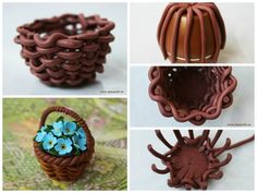 Flower basket from polymer clay In this tutorial, I want to tell you and show you how to make an original gift with their own hands. Today we will sculpt t Fimo Ring, Polymer Clay Ring, Polymer Clay Fairy, Polymer Clay Flowers, Polymer Clay Miniatures, Diy Clay, Clay Crafts, Cake Decorating For Beginners, How To Make Clay