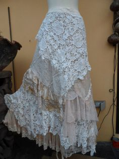 vintage inspired extra shabby wrap skirt/shawl...a by wildskin