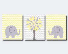 Elephant Nursery Art Print Wall Art Prints Yellow by HopAndPop