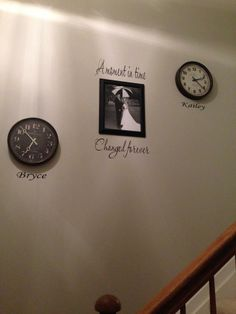 A friend of mine just did this in her house! Wedding picture in the center and clocks with kids birth times. Stairway Picture Wall, Stairway Pictures, Wall Clock With Pictures, Picture Clock, Picture Frames, Picture Ideas, Gallary Wall, Kids Birth, Hallway Ideas