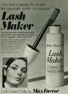 1972 Ad, Max Factor Lash Maker Comb-On Mascara. You see were maybelline lash stylist got there idea. Bring it back...