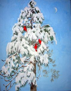 Snowy Pine with Cardinals Poster by Ethel Vrana Thing 1, Winter Art, All Poster, Cardinals, Fine Art America, Watercolor, Landscape, Pine, Painting