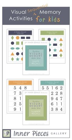 Visual Sequential Memory Activities for Kids. Printable tool for parents, teachers, and especially educational therapists.  Great for #homeschool and #summer skill building.