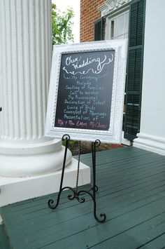 I love this!!!  It could sit right inside the door by the guest book!  - Chalkboard Wedding Program