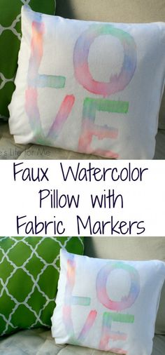 Faux Watercolor Pillow with Fabric Markers from A Turtle's Life for Me
