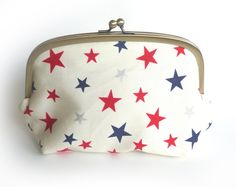 Red White and Blue Stars Fabric Cosmetic Bag by cheekyleopard