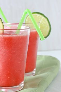 Strawberry Limeade Slushies:  1 lb frozen strawberries  1/4 cup lime juice (okay to sub lemon juice)  1/3 cup sugar or sugar substitute  1 cup ice cubes  2-2 1/2 cups water