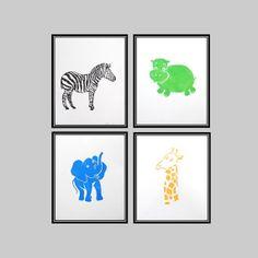 Safari Quad Set A - 4 Block Prints - 8 x 10 Posters on Etsy, $65.00