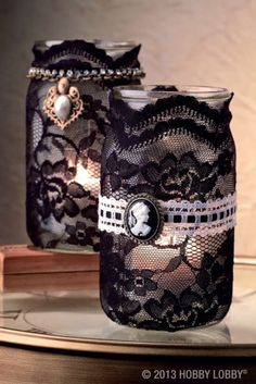 Mason Jars with lace