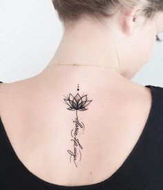▷ 1001 + Ideas and inspirations for a lotus flower tattoo- ▷ 1001 + Ideen und Inspirationen für ein Lotusblume Tattoo lotus flower tattoo on the back, small lotus in combination with lettering, blackwork tattoo - Unalome Tattoo, Lotusblume Tattoo, Tattoo Life, Tattoo Fonts, Tattoo Quotes, Girl Back Tattoos, Back Of Neck Tattoo, Sister Tattoos, Tattoo Neck