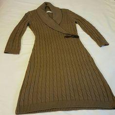 CALVIN KLEIN SWEATER DRESS BROWN SWEATER DRESS Calvin Klein Dresses Long Sleeve