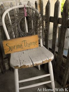 I love my 50 cent chippy white chair! The wreath was also 50 cents. The sign was made from yours truly. And the fence, which is one of my all time favorite buys was $10 at a craft fair. Can you tell that I like a good deal?! LOL
