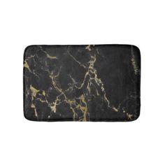 #Modern Black Marble Pattern Bathroom Mat - #giftideas #teens #giftidea #gifts #gift #teengifts