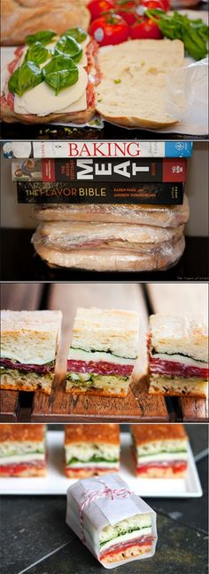 yum picnic sandwiches. Would be a great way to make petite tea party sandwiches.
