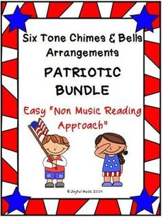 """This product includes the following for each song in the PATRIOTIC BUNDLE: • Lesson Plan, Objectives, Procedures • Actual musical arrangement used for each piece • Sheet with lyrics and rhythms used in each piece • Individual printable """"music"""" for each chime or bell Songs included in the PATRIOTIC BUNDLE: • America • America, the Beautiful • I'm A Yankee Doodle Dandy • The Battle Hymn of the Republic • The Star-Spangled Banner • You're A Grand Old Flag This product uses a """"non-m"""