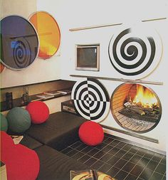 Vintage retro home decor black and white op art psychedelic inspiration 70s late 60s