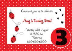 Ladybug Birthday Invitation - Printables ByInvitationOnlyDIY  www.etsy.com/...    # Pin++ for Pinterest #