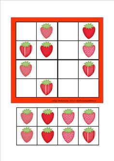Simple sudoku strawberries - cut and paste.  By Autismespektrum