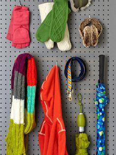 Pegboard in Coat Closet - Organizing Tips - Redbook