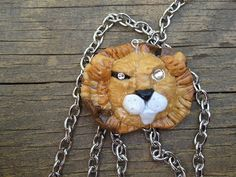 Handmade Lion Pendant with Silver Chain by ConstantMindJewelry, $13.99