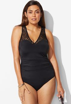 e9bcb14618263 Black Lace Swimsuit Swimsuits For All, Plus Size Swimsuits, One Piece  Swimwear, Sale