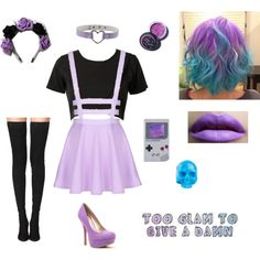 Pastel goth by littlesweetheart123 on Polyvore featuring mode, Tamara Mellon…