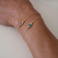 Dainty gemstone and gold chain bracelets