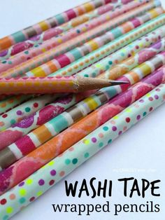 washi tape wrapped pencils Such a good idea for a back to school craft!