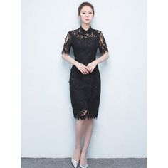 Mid Black Lace Floral Qipao Cheongsam Dress ($86) ❤ liked on Polyvore featuring dresses, elbow sleeve dress, floral printed dress, flower design dresses, floral dresses and floral day dress