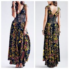 Free People Wisteria & Lattice Maxi Dress NWOT Brand new condition, never been worn. Beautifully romantic, this maxi features a smocked lattice bodice for stretch, & decorative ties at the shoulders. The skirt flows with two layers, creating an ethereal style. ❗️No Trades❗️ Free People Dresses Maxi