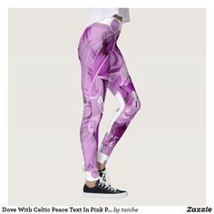 Shop Dove With Celtic Peace Text In Pink Purple Tones Leggings created by taiche. Personalize it with photos & text or purchase as is! Workout Leggings, Women's Leggings, Christmas Leggings, Pink Purple, Celtic, Peace, Pattern, Pants, Shopping