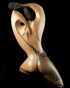 """Once a Warrior"" by Rex Homan, Māori artist, acrylic base human sculpture Wood Carving Art, Stone Carving, Abstract Sculpture, Wood Sculpture, Human Sculpture, Metal Sculptures, Bronze Sculpture, Art Maori, Carving Designs"