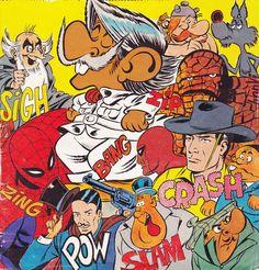 I personaggi di Supergulp, con in primo piano Marzolino Tarantola, in una illustrazione di Bonvi per una copertina di Sorrisi Canzoni Tv del 1979
