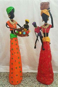 Yaratıcı Projeler: Gazete kağıtlarından dekoratif Afrikalı kızlar Decorative African girls from newspaper papers African Dolls, African American Dolls, African Girl, Recycled Paper Crafts, Paper Crafts Origami, Newspaper Paper, Newspaper Crafts, Paper Dolls, Art Dolls