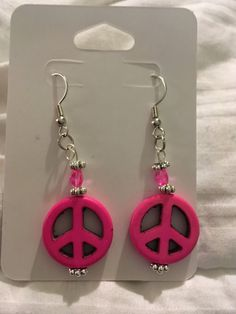 Earrings (all colors) are 60 mm in Length and 14 mm in Height.   Choose between Blue, Pink, Yellow, Orange, and Green.   #retro #hippy #cute #pink #blue #yellow #orange #green #1960s #1970s #flowerchild