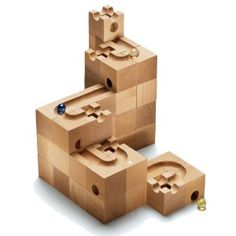 """Cuboro Standard Building Block Set, Xyloba Orchestral Runway, Cuboro """"Tricky Ways"""" Board Game,.- Construction Toys at Manufactum Wood Projects, Woodworking Projects, Marble Tracks, Marble Machine, Designer Toys, Wooden Blocks, Wood Toys, Games For Kids, Puzzles"""