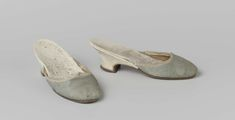1750-1800, the Netherlands - Mules - Silk damask, leather