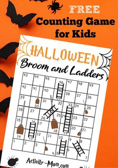 Halloween Counting Game for Kids. Free, printable counting game for preschoolers and kindergartners. Free game for kids for Halloween.  #countinggame #kids #halloweengame #preschool #kindergarten #halloweenmath #freeprintable Fun Halloween Crafts, Halloween Activities For Kids, Halloween Math, Printable Activities For Kids, Holiday Crafts For Kids, Halloween Stuff, Kids Crafts, Preschool Scavenger Hunt, Preschool Games