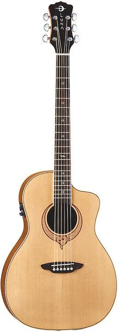 Luna Heartsong Parlor. This small body acoustic guitar comes with built-in electronics that allow for direct recording. Street Price: $255.  For a detailed guide to Parlor Guitars see https://parlor.guitars/blog/roundup-best-parlor-guitars