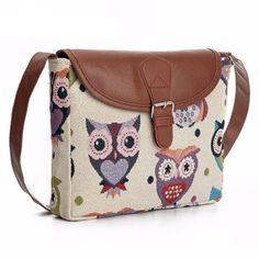 Canvas & Leather Flap Owl Crossbody Messenger Bag For Women