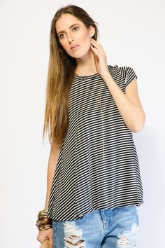 STRIPED KNIT FLARE TOP $13.99