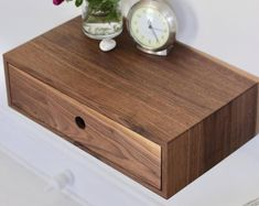 Modern Entryway Organizer with Magnetic Key Hooks in Choice of Hardwood, Mid Century Modern Style Floating Desk, Floating Nightstand, Floating Shelves, Wood Nightstand, Walnut Bedside Table, Modern Bedside Table, Portland Maine, Rough Sawn Lumber, Pure Tung Oil