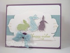 cute Easter card using the Ears to You single stamp, apothecary accents framelits, cloud embossing folder and twitterpated dsp